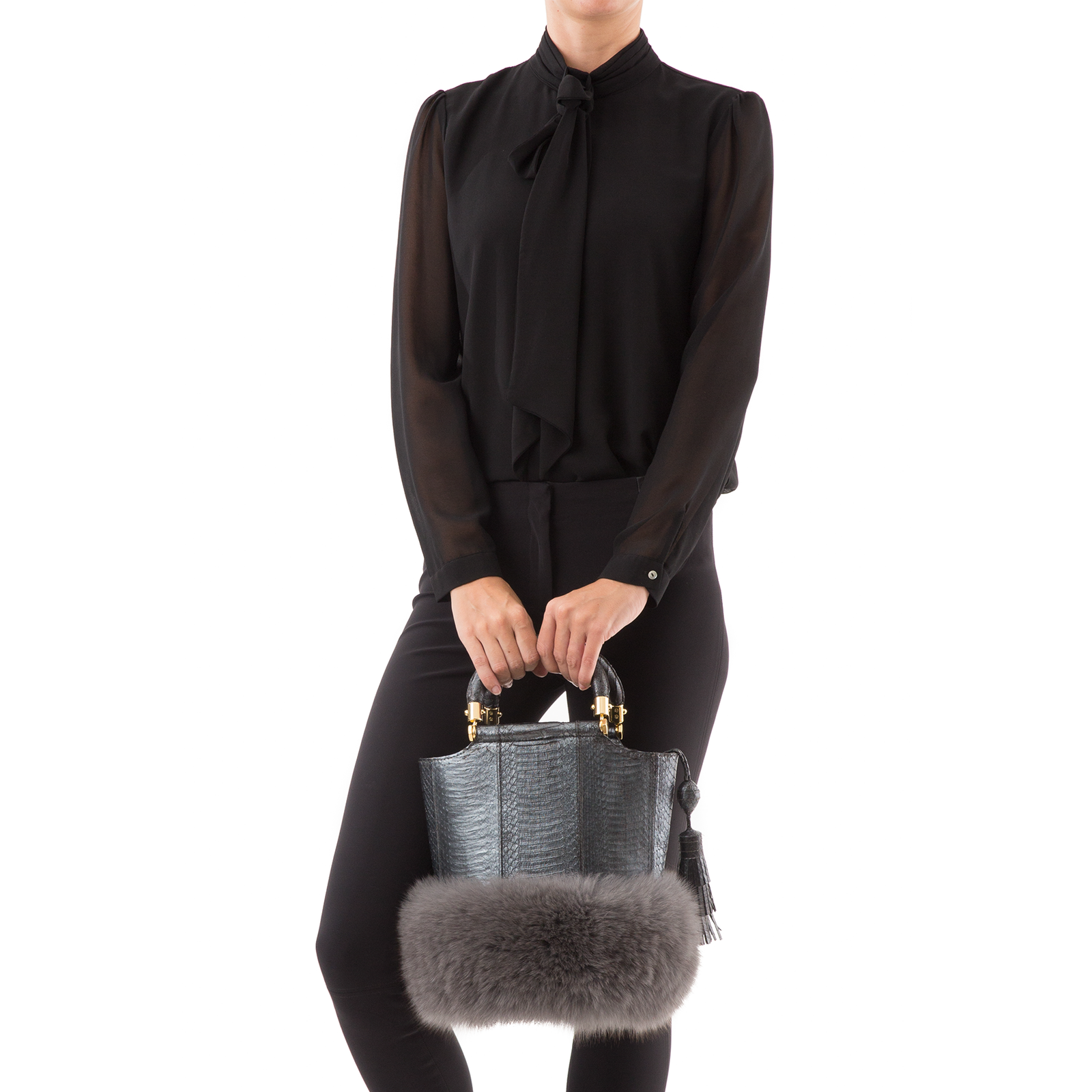 Bucket Bag PASSISSO Gunmetal Cobra and Grey Fur