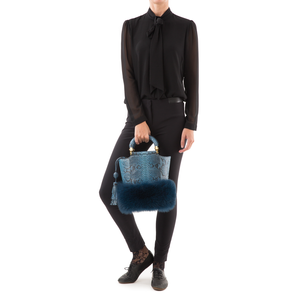 Bucket Bag PASSISSO Cobalt Python and Dark Blue Fur