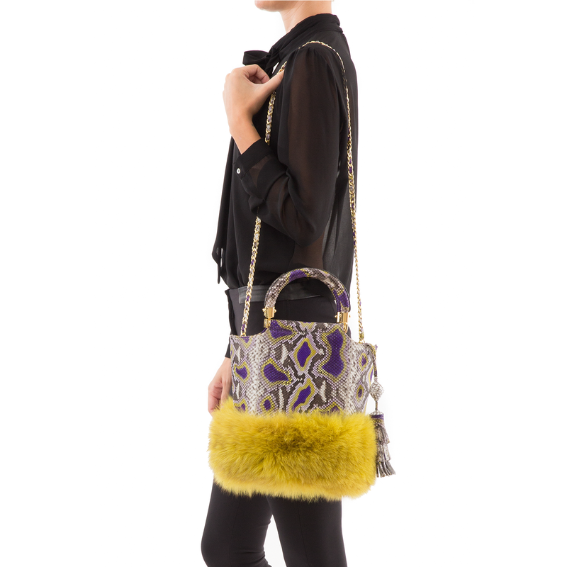 Bucket Bag PASSISSO Painted Python and Yellow Fur