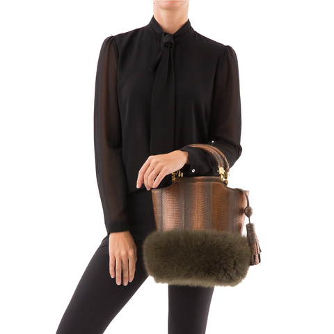 Bucket Bag PASSISSO Muddy Bronze Cobra and Kaki Fur