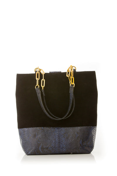 Tote Bag TAH TONG SAK BLACK SUEDE AND NAVY PYTHON