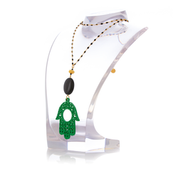 RAKSHA Necklace Black Agate and Green Hand Lacquered-Horn