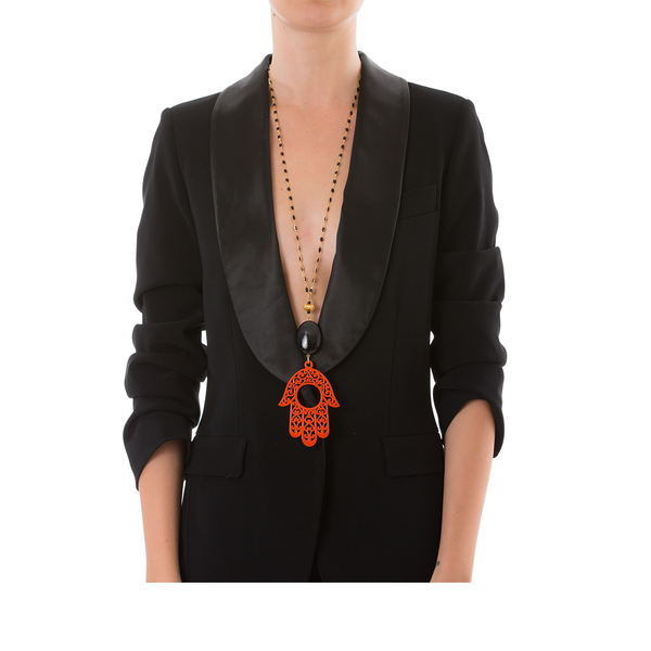 RAKSHA Necklace Black Agate and Orange Hand Lacquered-Horn