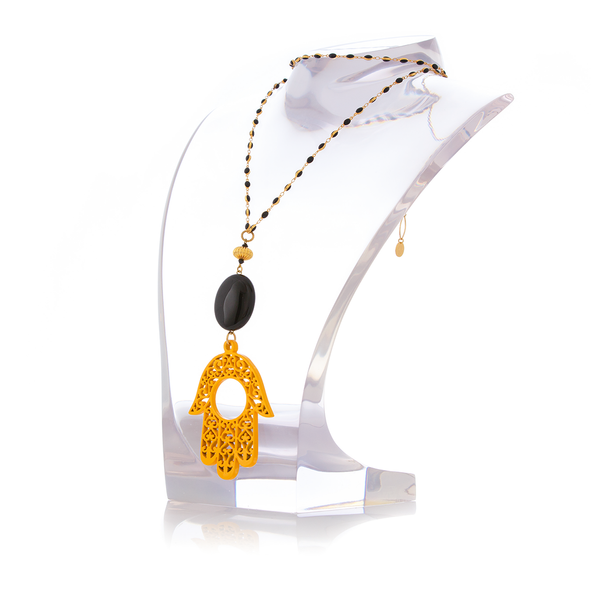 RAKSHA Necklace Black Agate and Yellow Hand Lacquered-Horn
