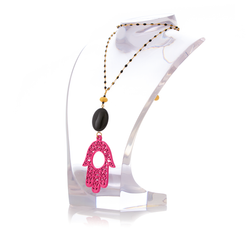RAKSHA Necklace Black Agate and Pink Hand Lacquered-Horn
