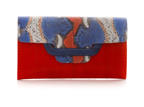 ULALA Clutch bag Red and painted flap with removable strap
