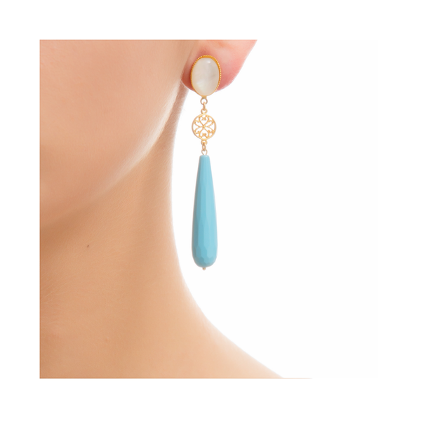 RITA Earring Gold-Plated Pearl and Turquoise
