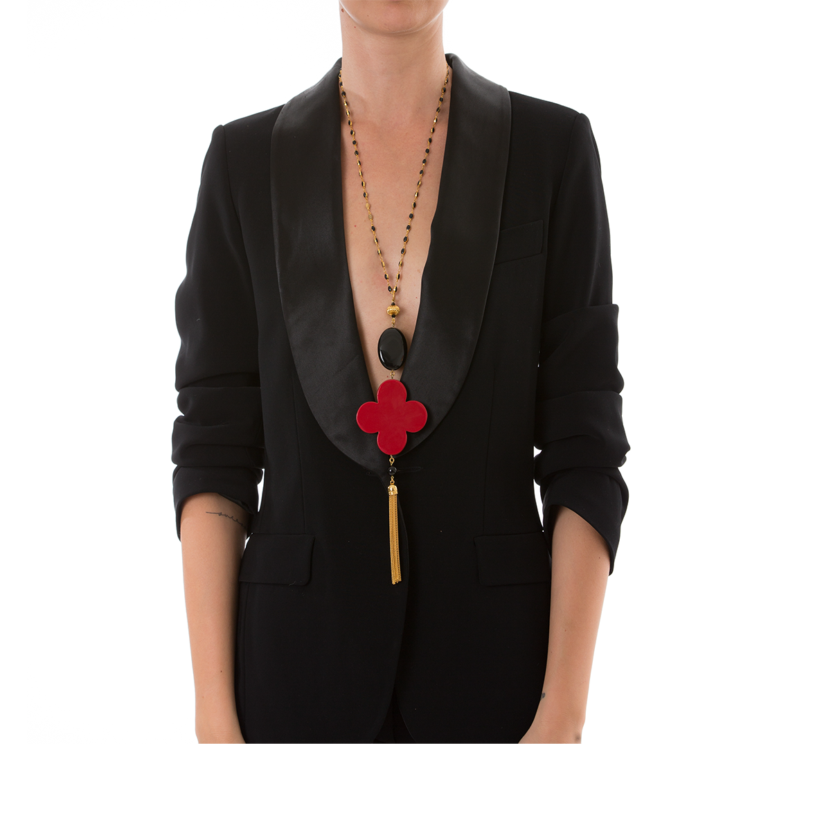 ROMANE Adjustable Tasseled Gold-Plated Necklace & Red Lacquered-Horn