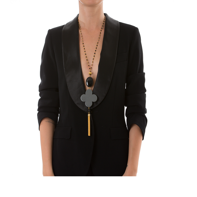 ROMANE Adjustable Tasseled Gold-Plated Necklace & Grey Lacquered-Horn