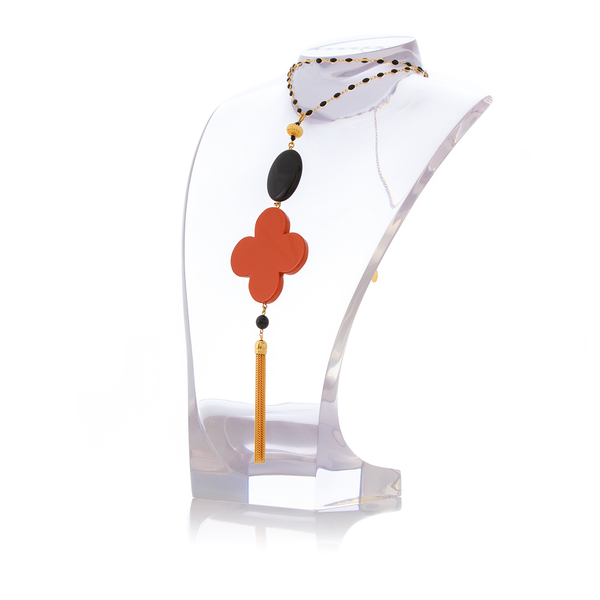 ROMANE Adjustable Tasseled Gold-Plated Necklace & Orange Lacquered-Horn