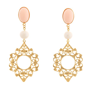 ROSACE Earring Gold-Plated Coral and Pearl