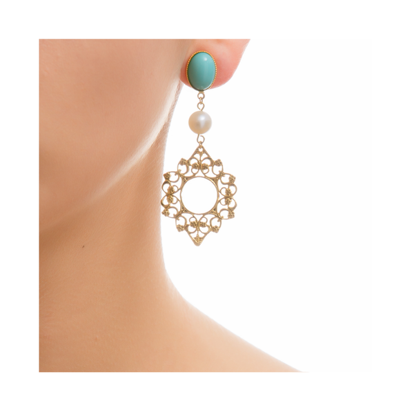 ROSACE Earring Gold-Plated Turquoise and Pearl