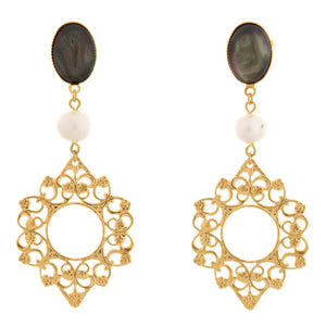 ROSACE Earring Gold-Plated Grey and Pearl