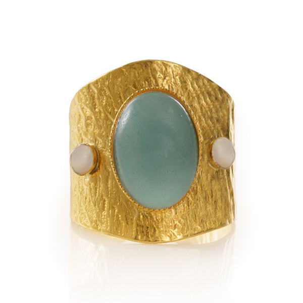 SAHEL adjustable ring aventurine stone.