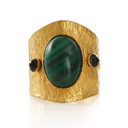SAHEL adjustable ring malachite stone