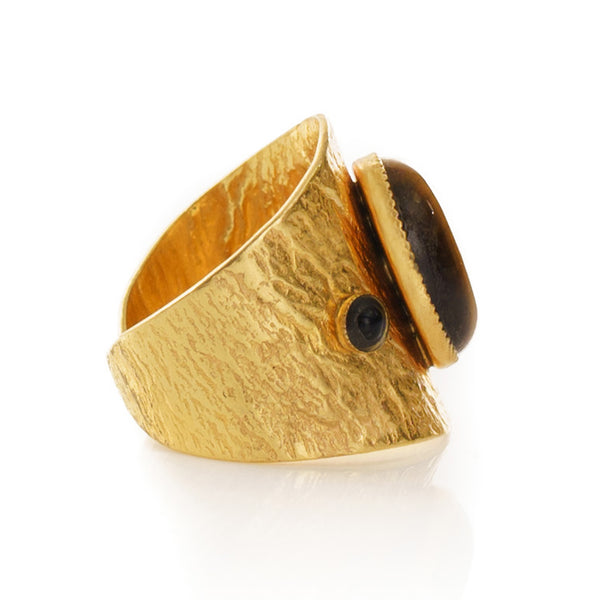 SAHEL Adjustable Ring tiger eye stone.