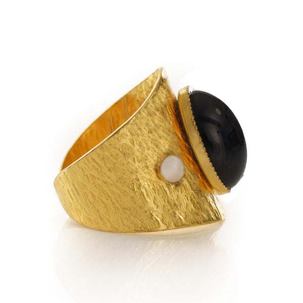 SAHEL Adjustable Ring black agate stone