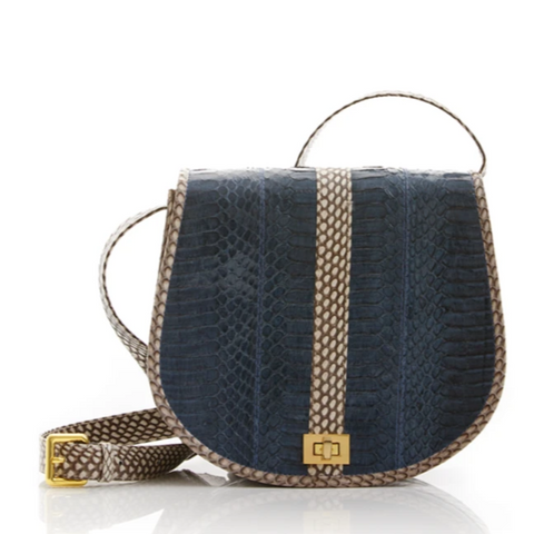 Cross Body Bag SOMINI Navy Blue Cobra