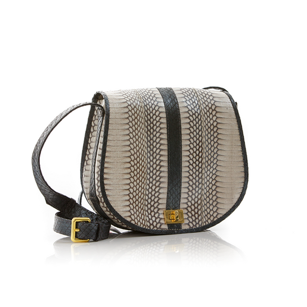 Cross Body Bag SOMINI White and Grey Metal Cobra