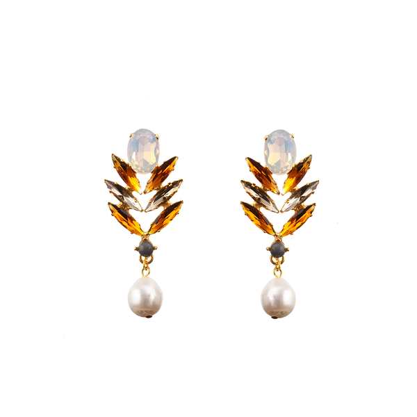 SOPHIA Earring Moon Swarovski Orange Crystal and Baroque Waterpearl