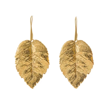 SERAPHINE gold metal leaves earrings