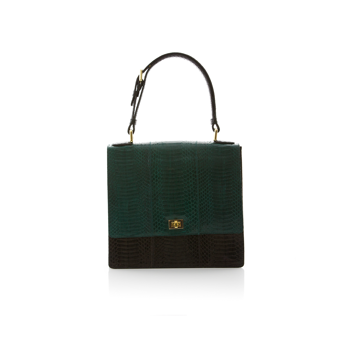 Top Handle Bag TAHDAH Dark Green and Black Cobra