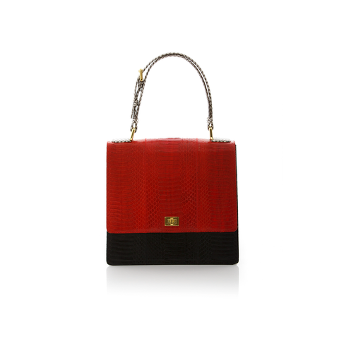Top Handle Bag TAHDAH Red and Black Cobra
