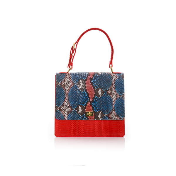 Top Handle Bag TAHDAH Red and Blue Painted Python and Red Cobra