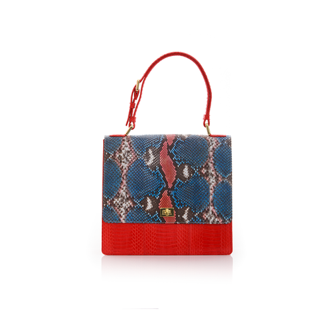 Top Handle Bag TADAH Red and Blue Painted Python and Red Cobra