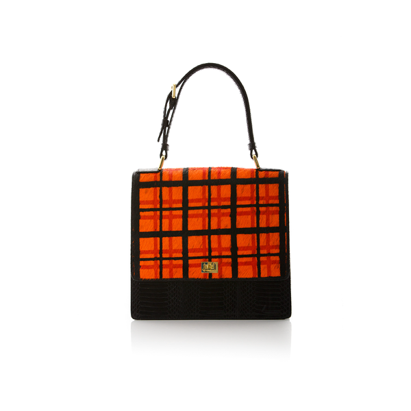 Top Handle Bag TADAH Orange Tartan and Black Cobra
