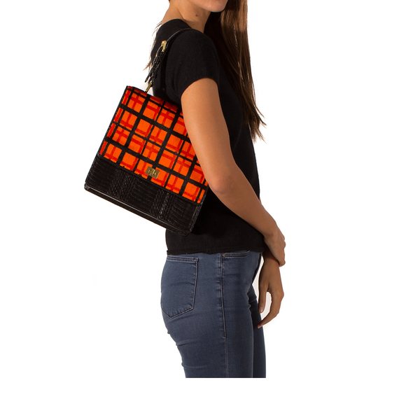 Top Handle Bag TAHDAH Orange Tartan and Black Cobra