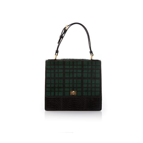Top Handle Bag TAHDAH Green Tartan and Black Cobra