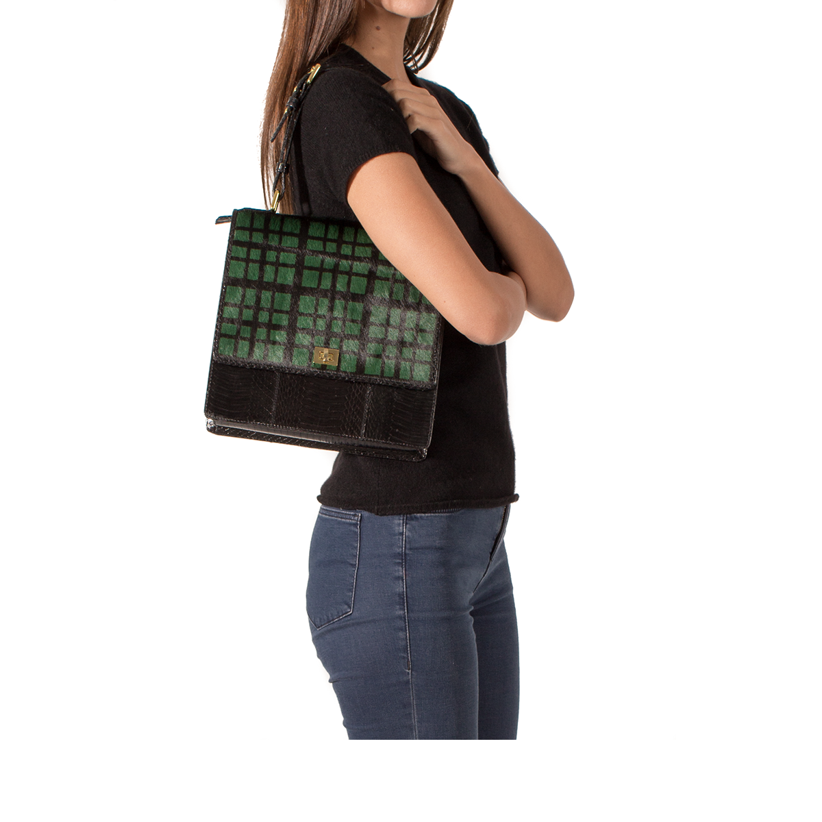 Top Handle Bag TADAH Green Tartan and Black Cobra
