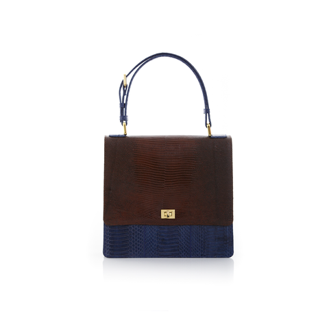 Top Handle Bag TAHDAH Brown Lizard and Navy Cobra