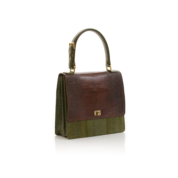 Top Handle Bag TAHDAH Brown Lizard and Summer Green Cobra