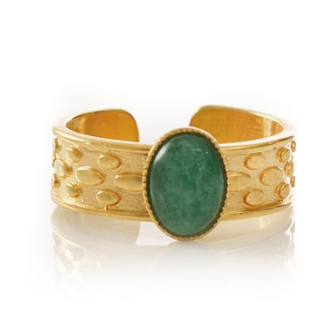 TANIS Adjustable Ring Green Agate