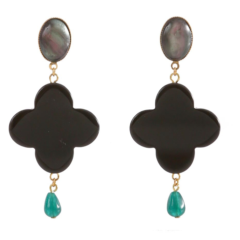 TEKKA Earring Black Lacquered-Horn Black and Green