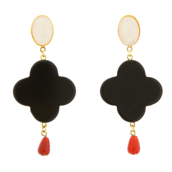 TEKKA Earring Black Lacquered-Horn Pearl and Cornelian