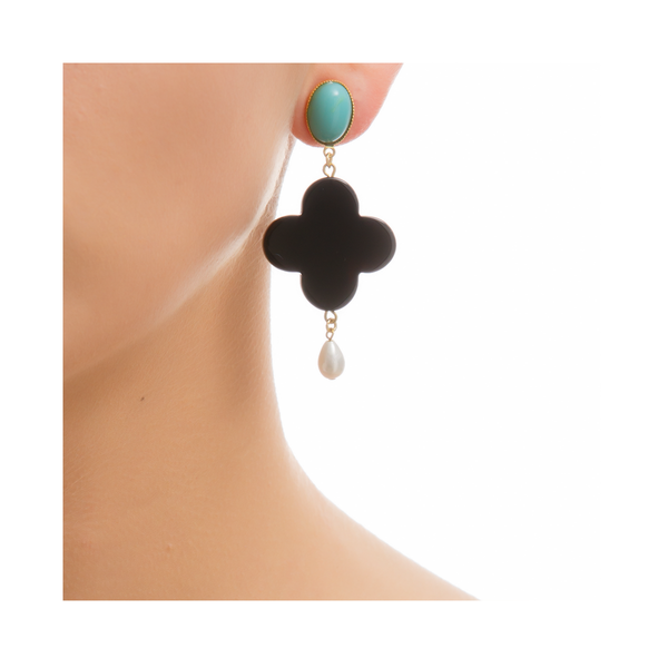 TEKKA Earring Black Lacquered-Horn Turquoise and Pearl