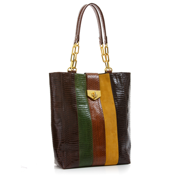 Tote Bag TAH TONG SAK Brown and Summer Green Cobra and Mustard Suede