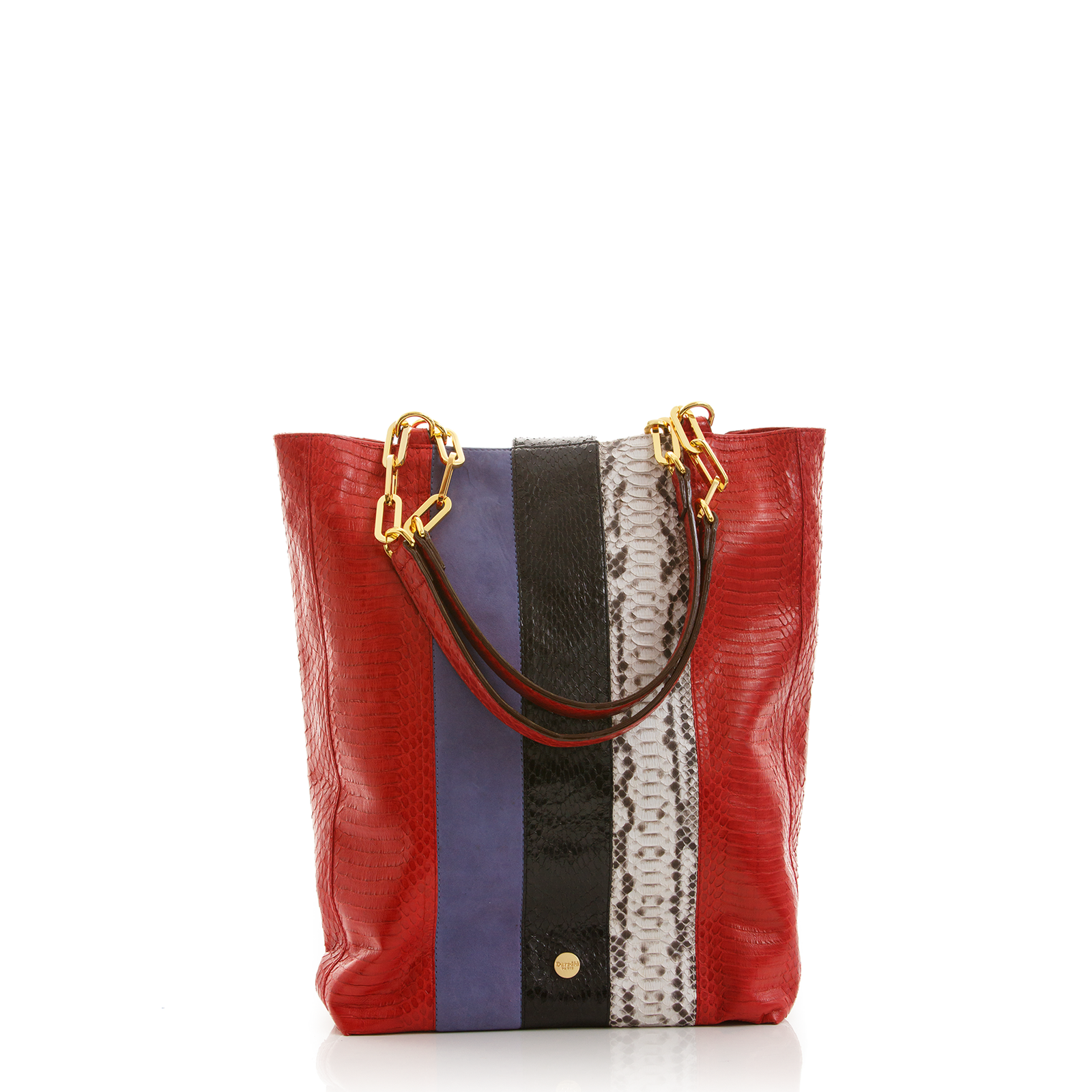 Tote Bag TAH TONG SAK Red Cobra Natural Python and Lily Suede