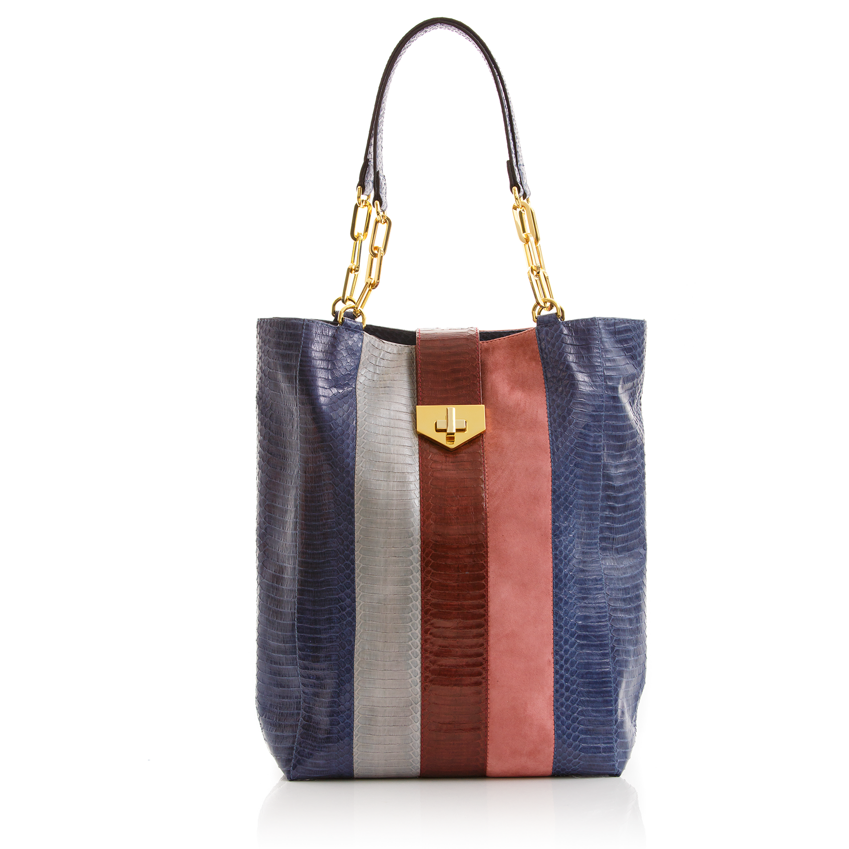 Tote Bag TAH TONG SAK Navy Cassis and Open Sky Cobra and Malabar Suede