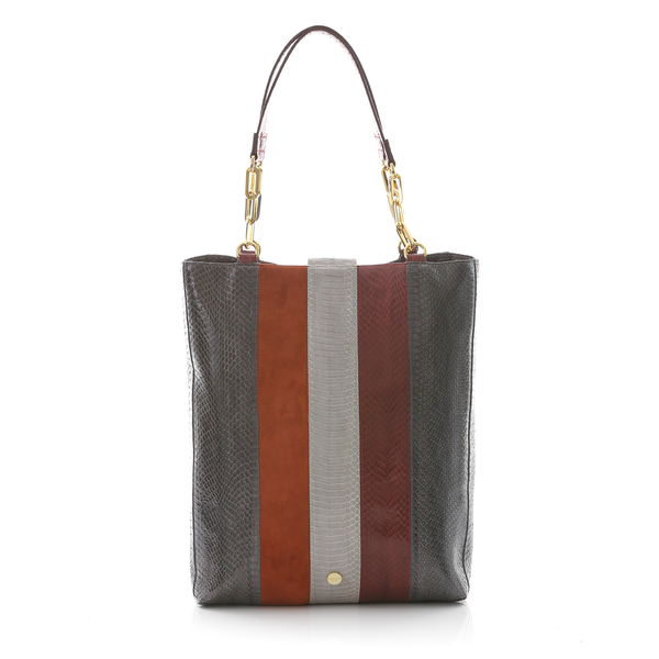 Tote Bag TAH TONG SAK Grey Green, Cassis Cobra and Tomette Suede