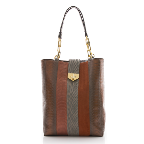Tote Bag TAH TONG SAK Muddy Bronze Cobra and Tomette Suede