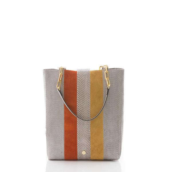 Tote Bag TAH TONG SAK Open Sky Cobra, Paprika and Mustard Suede