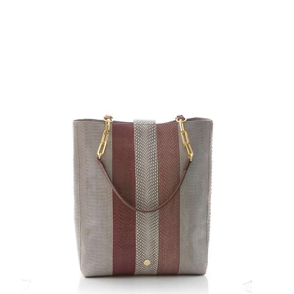Tote Bag TAH TONG SAK Open Sky, Cassis and Cognac Cobra