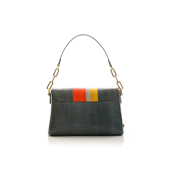 Shoulder bag TULAPA SUI LAH Grey Blue Orange and Yellow Cobra