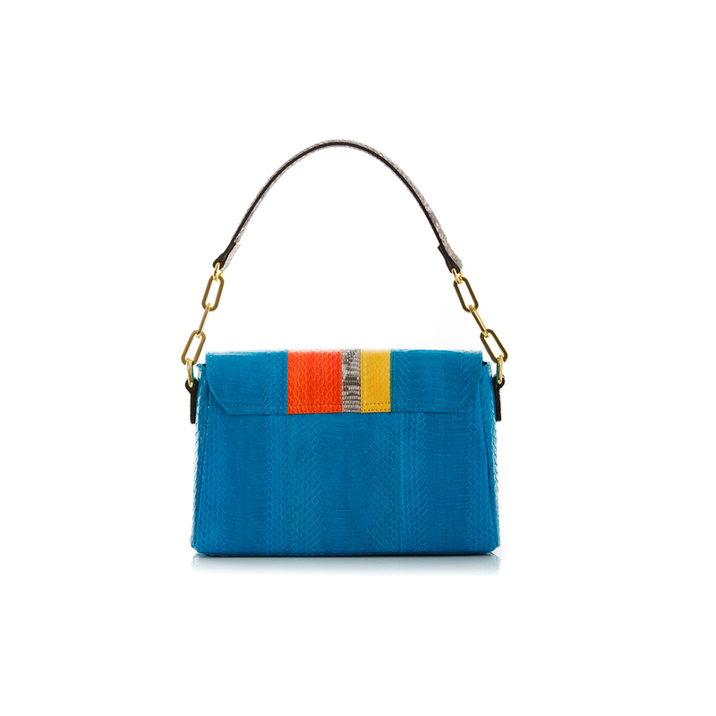 Shoulder bag  TULAPA SUI LAH Turquoise Orange and Yellow Cobra