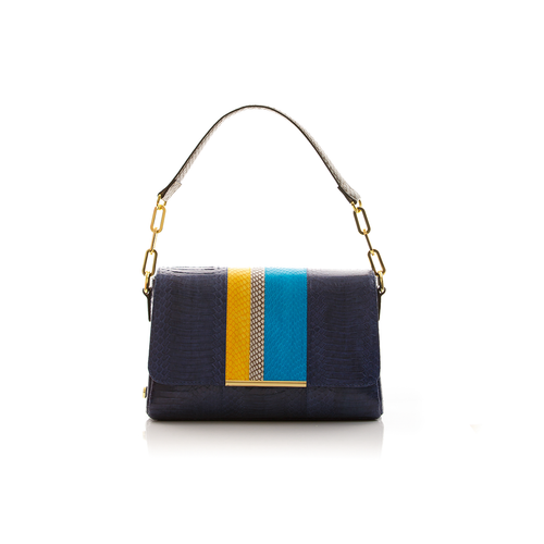 Shoulder bag TULAPA SUI LAH Dark Blue Turquoise and Yellow Cobra