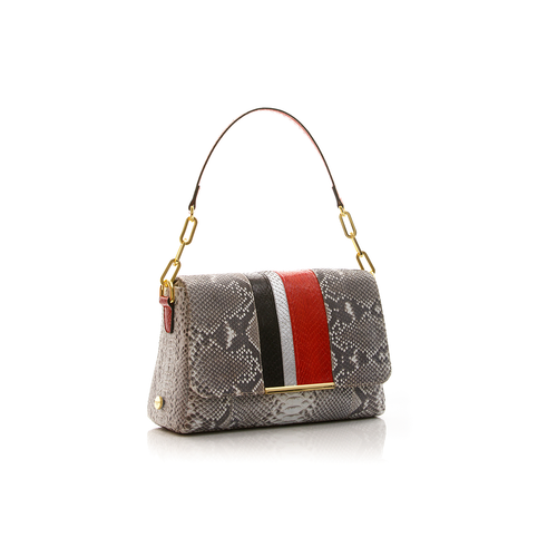 Shoulder bag TULAPA SUI LAH Natural Python with Red and Black Cobra